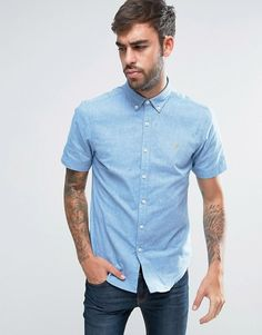 Farah Steen Short Sleeve Shirt Slim Fit 2 Colour Oxford Buttondown in Blue