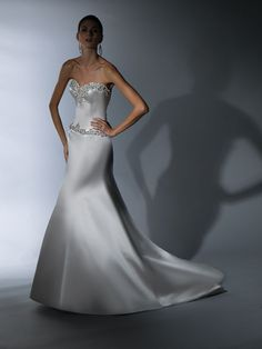 """Victor Harper Style VH137:  Satin strapless A-Line gown with jewel and silver """"leaf"""" embroidery at neckline and hipline"""