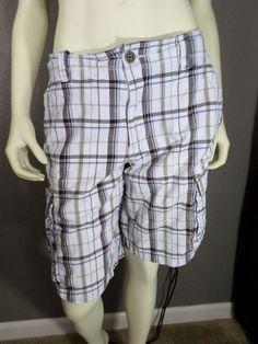 Men's Route 66 White Plaid Cargo Shorts - Size 32 #Route66 #Cargo