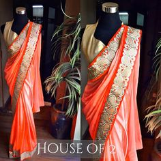 Bright orange satin saree with gold border to purchase mail us at houseof2@live.com or whatsapp us on +919833411702 for further detail #silk #sari #saree #trendy #traditional #traditionalwear #traditionaldesign #traditionaloutfit #indianwear #indianbride #indowestern #indianoutfit #indianfashion #indianwedding #indiandesigner #bollywood #like4like #likeforlike #floral #follow4follow #followforfollow #houseof2