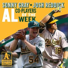 Congrats to Sonny Gray & Josh Reddick for being named AL Co-Players of the Week! #OAKtober
