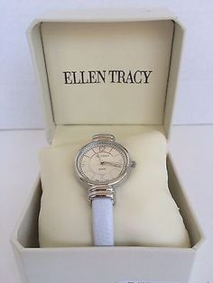 Pre-Owned Women's Ellen Tracy White Bangle Watch Open Back with Working Battery