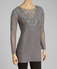 Take+a+look+at+the+Gray+Crochet+Linen-Blend+Top+on+#zulily+today!