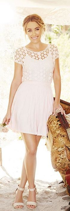 Who made Lauren Conrad's white lace short sleeve top and sandals?
