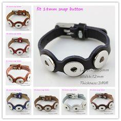 Mixed 11 Colors Genuine Leather Bracelet 3 Snaps Fit 18mm Snap Buttons Jewelry Fashion Bracelets 5Pcs/lot