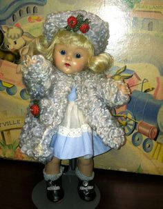 VINTAGE VOGUE STRUNG HIGH COLOR GINNY DOLL WEARING BLUE POODLE COAT OUTFIT #Dolls
