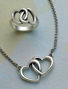 Linked Hearts Ring and Double Heart Linked Necklace #jamesavery #jewelry