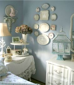 Hang decorative plates as wall art, from the kitchen backsplash to over the bedroom headboard for texture and interest.