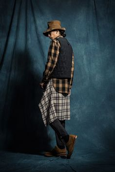 1S03 Westen Long LS Shirt/1V02 Woolen Cotton Vest/1P03 Army Zip Pants/1A02 banded Fisherman Hat/1B01 Brogue Boots ft. Chenjingkai