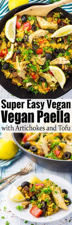 This vegan paella makes such a great weeknight dinner! It's one of my favorite summer recipes. Spanish recipes are just packed with flavor. For more vegan recipes check out veganheaven.org #paella #vegan #veganrecipes #spanishrecipes #summerrecipes