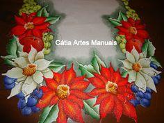Catia Artes Manuais: PASSO A PASSO PINTURA E EXECUÇÃO.... CAMINHO DE MESA PARA O NATAL
