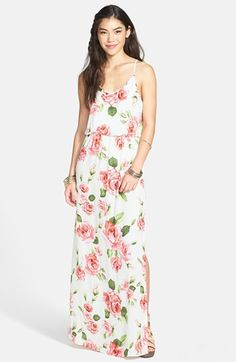 Lush Cage Strap Floral Maxi Dress (Juniors) available at #Nordstrom