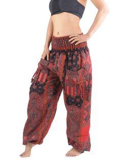 Pantalon bouffant laine imprimé fleurs indiennes
