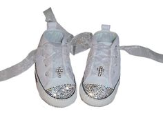 White Leather Converse Chuck Taylor Cross Shoes-Swarovski baby bling white leather rhinestone converse