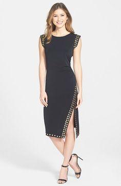 MICHAEL Michael Kors Studded Asymmetrical Hem Sheath Dress (Regular & Petite) | Nordstrom