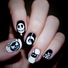Nightmare before christmas nails. This is halloween, This is halloween. Jack and Sally. I love this movie.