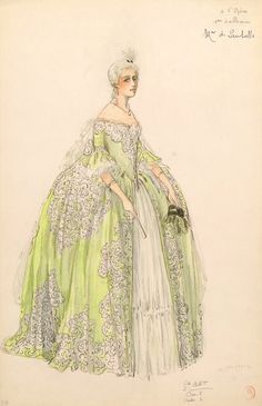 vivelareine: Costume design for the princesse de Lamballe by Bétout, possibly for the 1923 film L'enfant Roi University of Calgary Theatrical Scene & Costume Design Collection