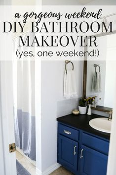 Weekend Bathroom Makeover Reveal – Love & Renovations Serene Bathroom, Small Bathroom, Bathrooms, Master Bathroom, Bathroom Inspiration, Home Decor Inspiration, Decor Ideas, Diy Ideas, Art Deco Bathroom
