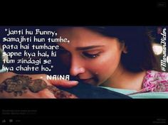 Naina Lyric Quotes, Movie Quotes, Life Quotes, Yjhd Quotes, Love Couple Photo, Dear Diary Quotes, Caption Lyrics, Filmy Quotes, Movie Dialogues