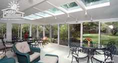 White Aluminum Frame All Season Room with Glass Roof Panels