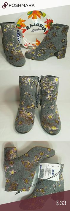"""ZIGI SOHO Ankle Booties. NWT. Size 7.5 💥JUST IN💥 Perfect Condition🌺 Sigi Soho Booties NWT. NEVER WORN SIZE↔7.5 COLOR↔gray FABRIC↔textile, outsole man made LINING↔textile  Color gray with light purple and yellow flower print Very nice looking Zipper side closure Chunky heel 2 3/4"""" hight.. very comfy 11"""" leg opening Perfect to wear with skirt this spring and summer!!  🚫NO TRADES 🚫NO MODELING 🔴OFFERS WELCOME.. USE BUTTON 💲BUNDLE FOR DISCOUNT  ✔CHECK ALL PICTURES AND ASK QUESTIONS↩ sigi…"""