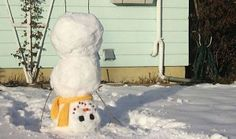 Upside down snowman, that should tickle the neighbours!