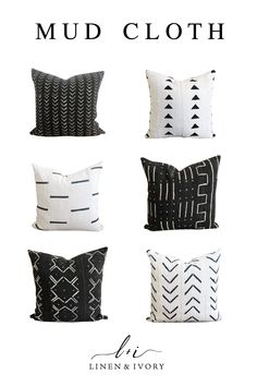 MUD CLOTH + LEATHER : Handwoven African mud cloth throw pillows add modern boho chic to any room. Each design is one of a kind and these are some of our favorites. Boho Throw Pillows, Diy Pillows, Cushions, Fall Pillows, Decorative Throw Pillows, Best Pillows For Sleeping, Bohemian Decor, Boho Chic, Pillow Room