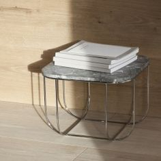 Cage Side Table in Chrome & Grey Marble design by Menu
