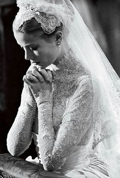 This is an old picture, a church ceremony. It wasn't labeled, but I recognized it. This is Actress Grace Kelly kneeling at the altar on her wedding day to the Ruling Prince of Monaco, a small European Principality.