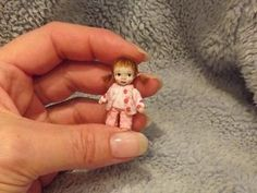 Miniature handmade TINY TOY BABY GIRL DOLL DOLLY ooak DOLLHOUSE ART DOLL 1/12