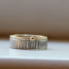 Wood Grain Wedding Band Stacking Rings Tree Bark, $165.00 - such a great alternative to diamond engagement and traditional wedding band.