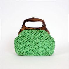 green woven raffia bag / wood handle pouch