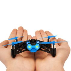 Parrot Rolling Spider Mini Drone  Rolling Spider's vertical camera enables you to take photos. You simply hit the 'photo' icon on piloting screen to take snapshots. The photos are saved in the Rolling Spider's memory which contains enough space for several hundred photos.