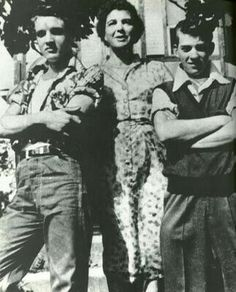 Elvis as a teenager with a couple of his neighbours