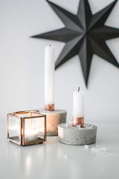Diy candle holders / concrete and copper pipe / sweet living and things