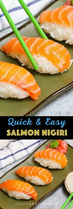 Salmon Nigiri made with sashimi-grade salmon with fluffy sushi rice! It's so much cheaper than the restaurant, and incredibly easy to make at home. I'll share with you the secrets to filet and cut salmon for nigiri sushi or sashimi with step by step photos. #salmonNigiri #nigiriSushi