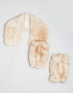 ASOS Faux Fur Pastel Pink Tipped Pointed Collar