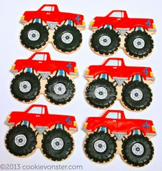 Monster Truck Cookies Cars 43 Ideas For 2019 Festa Monster Truck, Monster Truck Cookies, Car Cookies, Monster Trucks, Cookies For Kids, Royal Icing Cookies, Monster Truck Birthday Cake, Torta Blaze, Tates Cookies