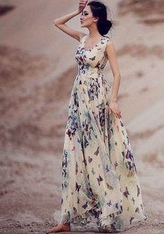 Beige Butterfly Print Sleeveless Bohemian Chiffon Maxi Dress / http://www.himisspuff.com/wedding-guest-dress-ideas/9/