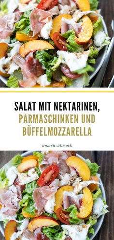 Salat mit Nektarinen, Parmaschinken und Büffelmozzarella Cobb Salad, Tacos, Low Carb, Beef, Ethnic Recipes, Summer Vibes, Food, Dressing, Winter