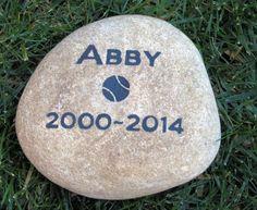 PERSONALIZED Dog Pet Memorial Stone Grave Burial Stone Maker 7 - 8 Inches Wide Memorial Gravestone - Pet Headstone w/ Tennis Ball