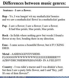 Differences between music genres :) oh my goodness amazingness!!
