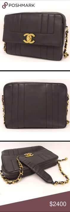a72566d95513 authentic CHANEL Flap Chain Bag large jumbo Black This is an authentic CHANEL  Black Lambskin Flap