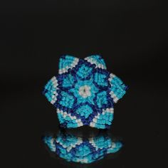 Ηandmade macramé Ring, Flower shaped, Waxed blue, cyan and white thread, 2cm. diameter http://reignofknots.com/index.php?route=product/category&path=17