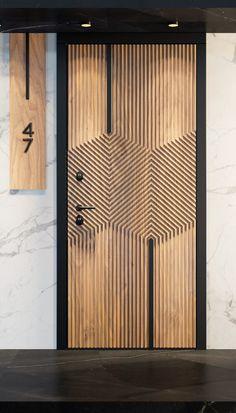 Wooden Wall Design, Wooden Front Door Design, Flush Door Design, Door Design Interior, Modern Wooden Doors, Modern Door, Door Signage, Wooden Signage, Unique Front Doors