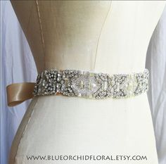 Crystal Sash Wedding Sash Bridal Sash by BlueOrchidBridal on Etsy, $175.00