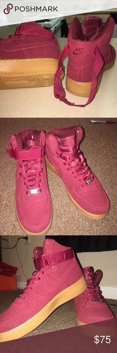 Nike Air Force 1's Maroon Suede Sneakers Nike Air Force 1's Gorgeous maroon suede sneakers. Size is too big for me. NEVER WORN !!!!!! Nike Sneakers!! Gum Bottoms. Shoes Sneakers