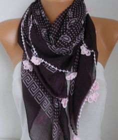 Spring Paisley Scarf Oya Yemeni Easter Cotton Cowl by fatwoman
