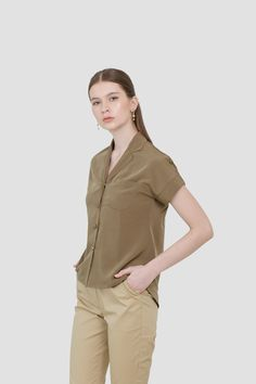 Myra Lapel Shirt in Olive Affordable Fashion, Ready To Wear, Khaki Pants, Spring, How To Wear, Shirts, Clothes, Outfits, Khakis