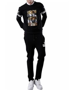 Men's Pullover Scoop Neck Long Sleeve Print Hot Sweatshirt Sweatpants Suit for Autum Winter Black L - Yesfashion.com in Free Shipping